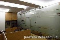 Стеклянные раздвижные двери система Монет